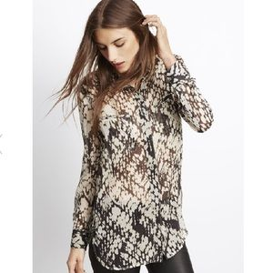 Vince Silk Basketweave Print Button Up Blouse